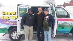 PAVE Coordinator James McCauley (left) with Phil Martello, of Camp Good Days, and a member of R Community Bikes (right)